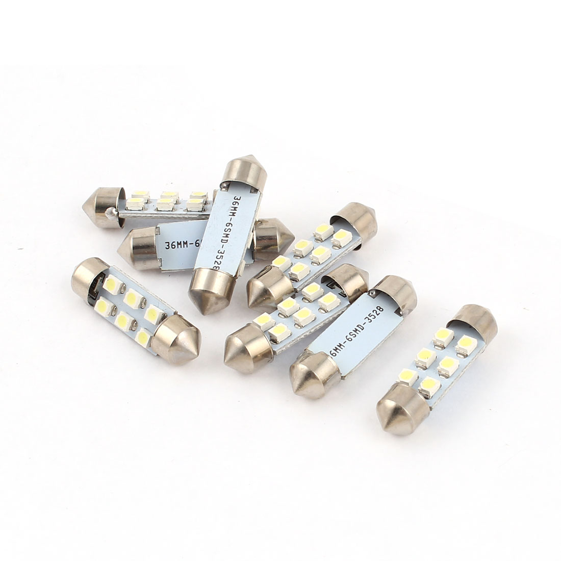 "8 pcs 36mm 1.4"" 3528 1210 SMD 6-LED Festoon Dome Light White DE3425 DE3423 C5W Internal"