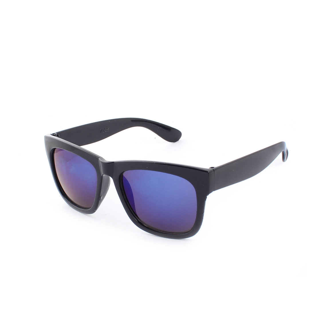 Beach Traveling Plastic Frame Full Rim Blue Lens Sunglasses Black