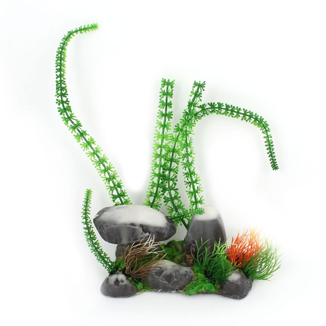 Aquarium Ornament Simulation Artificial Underwater Plant Rockery Green Gray