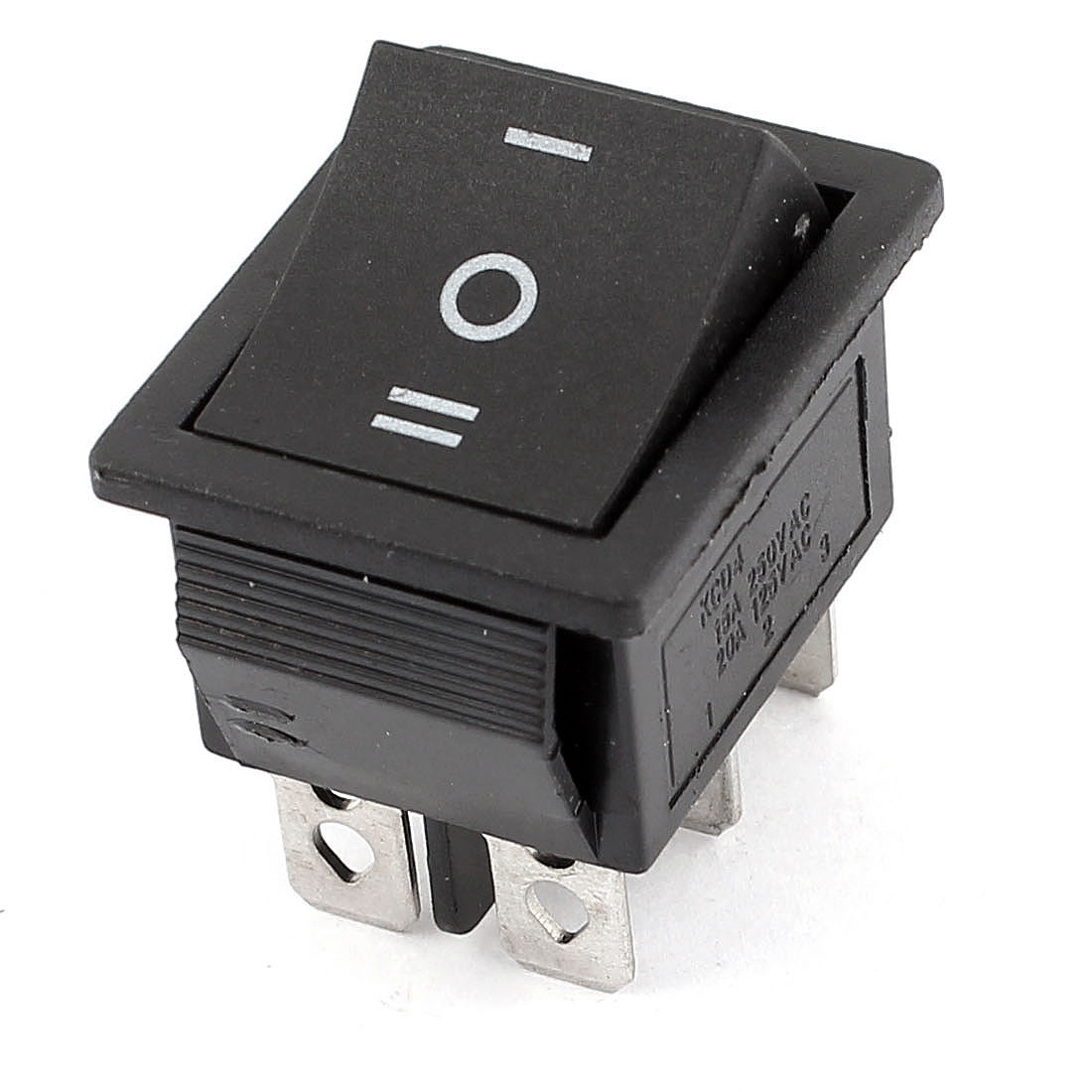 On/Off/On Snap-In Panel Mount DPDT Latch Rocker Switch AC 250V/15A 125V/20A