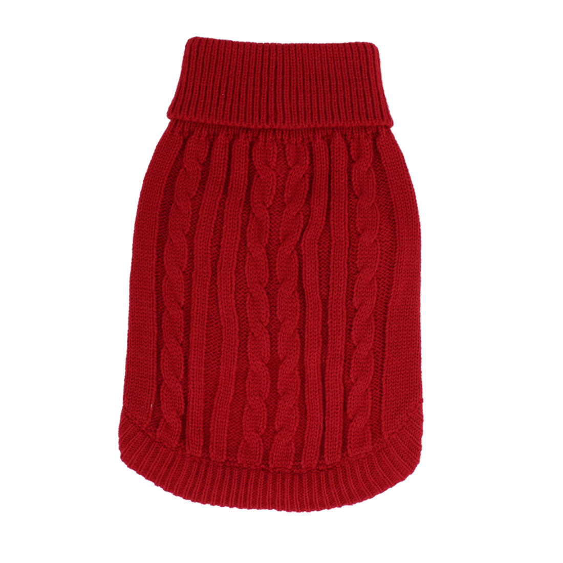 Pet Dog Doggy Ribbed Cuff Twisted Knitwear Turtleneck Apparel Sweater Clothes Red Size M