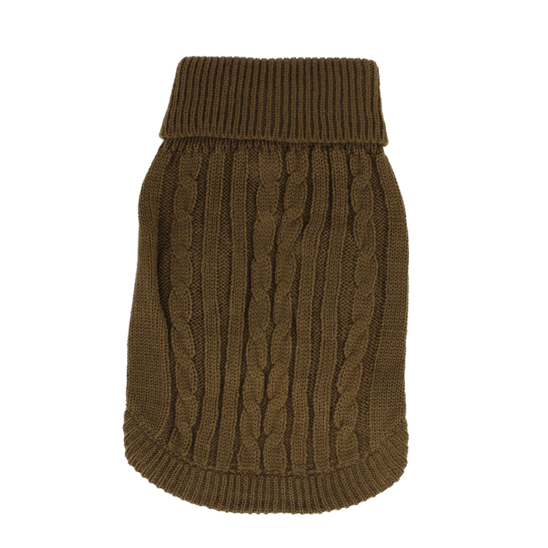 Pet Dog Doggy Ribbed Cuff Twisted Knitwear Turtleneck Apparel Sweater Coffee Color Size XS