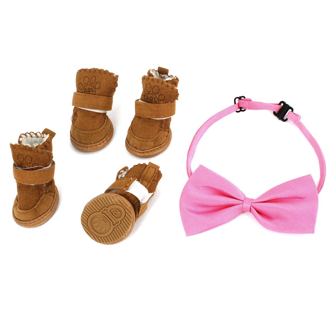 2 Pair Hook Loop Closure Pet Dog Shoes Boots Booties Brown XS + Pink Bowtie Collar