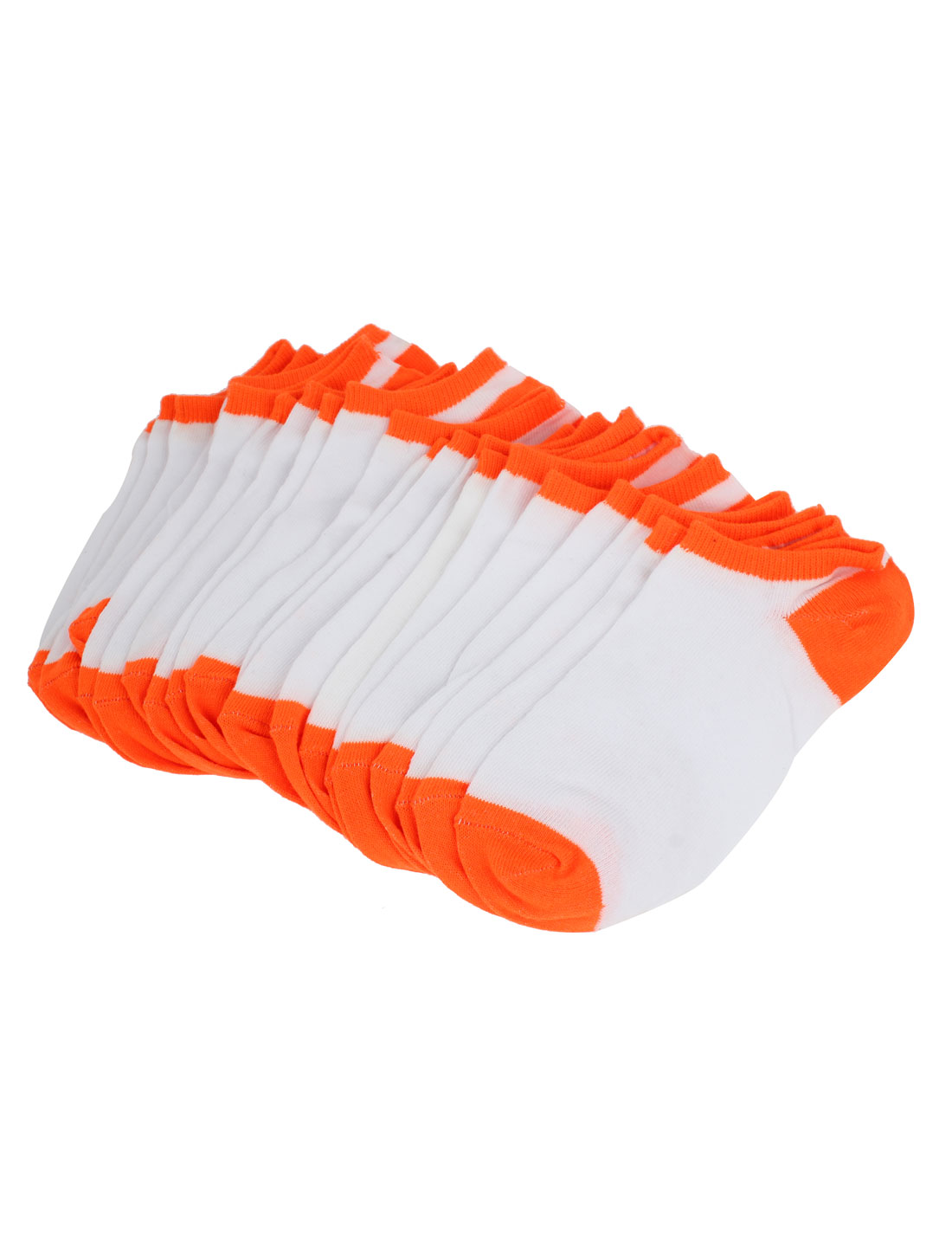 Women Warm Stretchy Cuff Short Low Cut Ankle Hosiery Socks White Orange 10 Pair