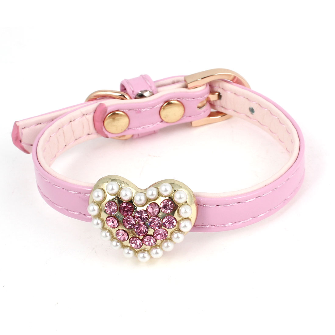 Pink Faux Leather Single Pin Buckle Adjustable Pet Dog Doggy Collar Necklace w Label