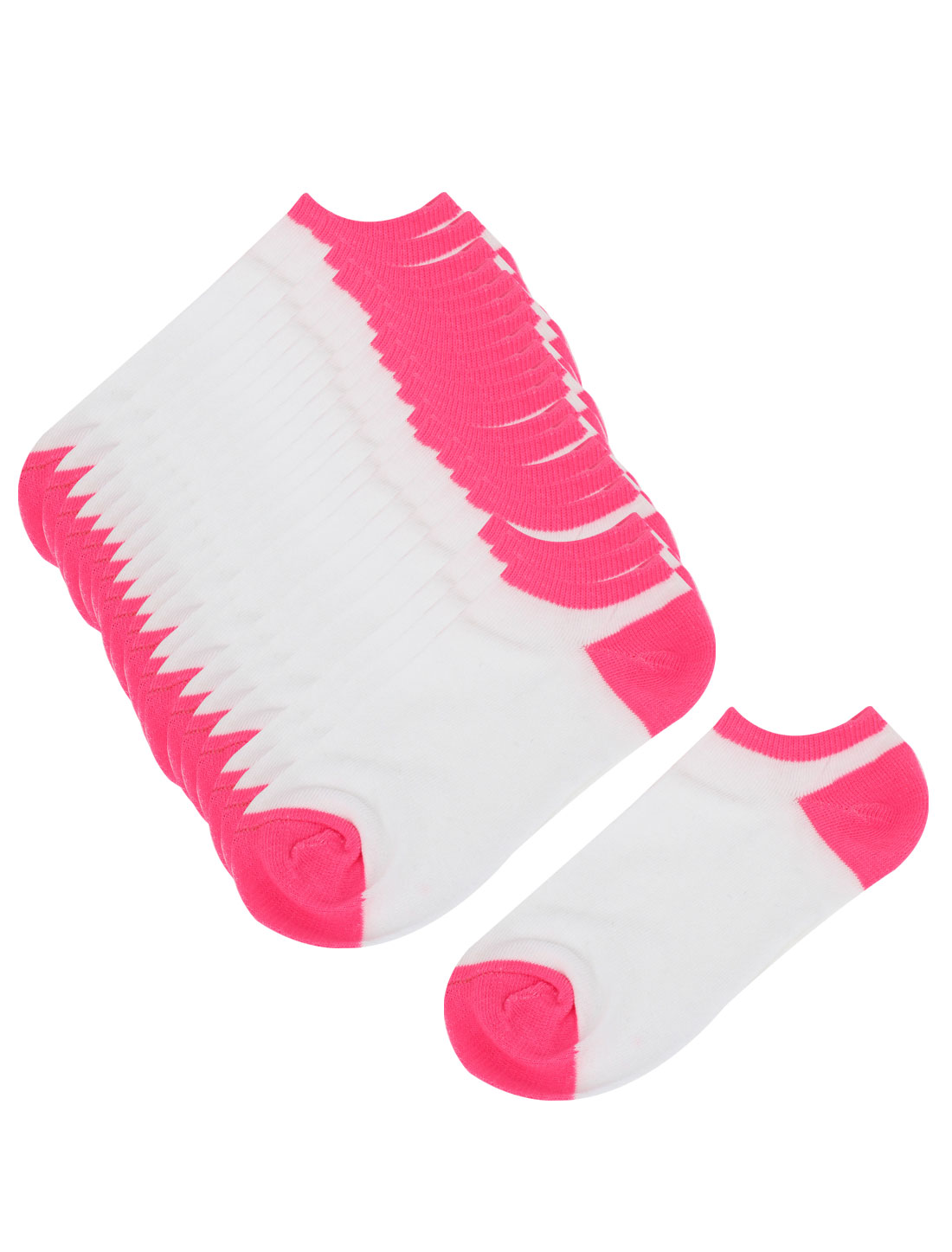 Women Warm Stretchy Cuff Short Low Cut Ankle Hosiery Socks White Fuchsia 10 Pair