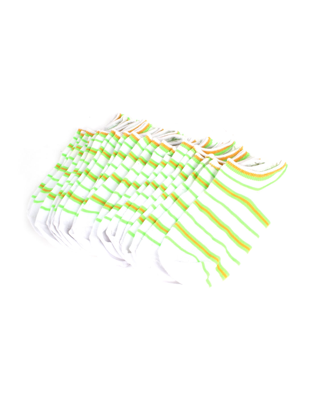 Women Stripe Pattern Stretchy Cuff Short Low Cut Ankle Hosiery Socks White Green Yellow 10 Pair