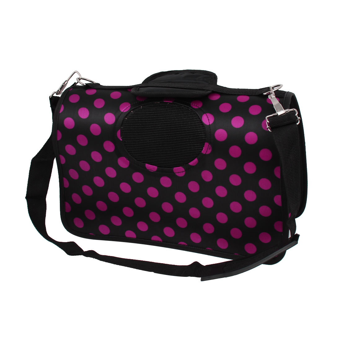 Outdoor Hiking Dots Pattern Handbag Tote Bag Carrying Carrier Fuchsia Black S for Pet Dog Doggy