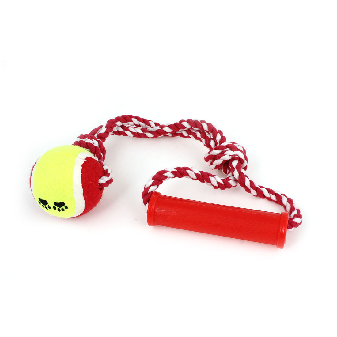 Pet Dog Puppy Braided Rope Tennis Ball Grinding Clean Teeth Playing Chew Squeeze Toy Red Yellow Green