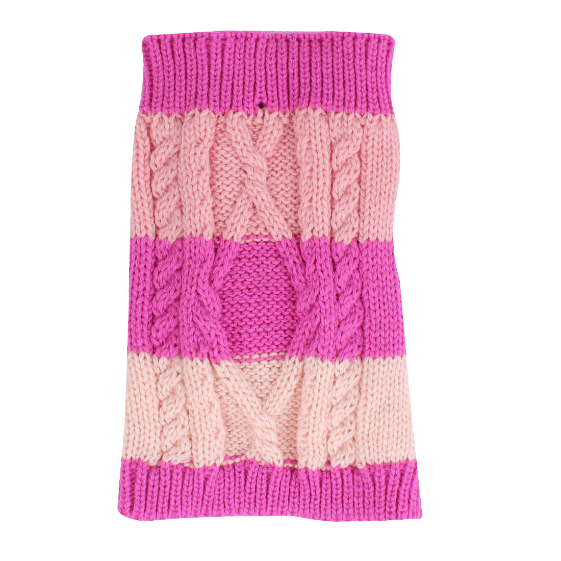 Pet Dog Puppy Twisted Knit Ribbed Hem Knitwear Apparel Sweater Coat Fuchsia Pink Size XXS