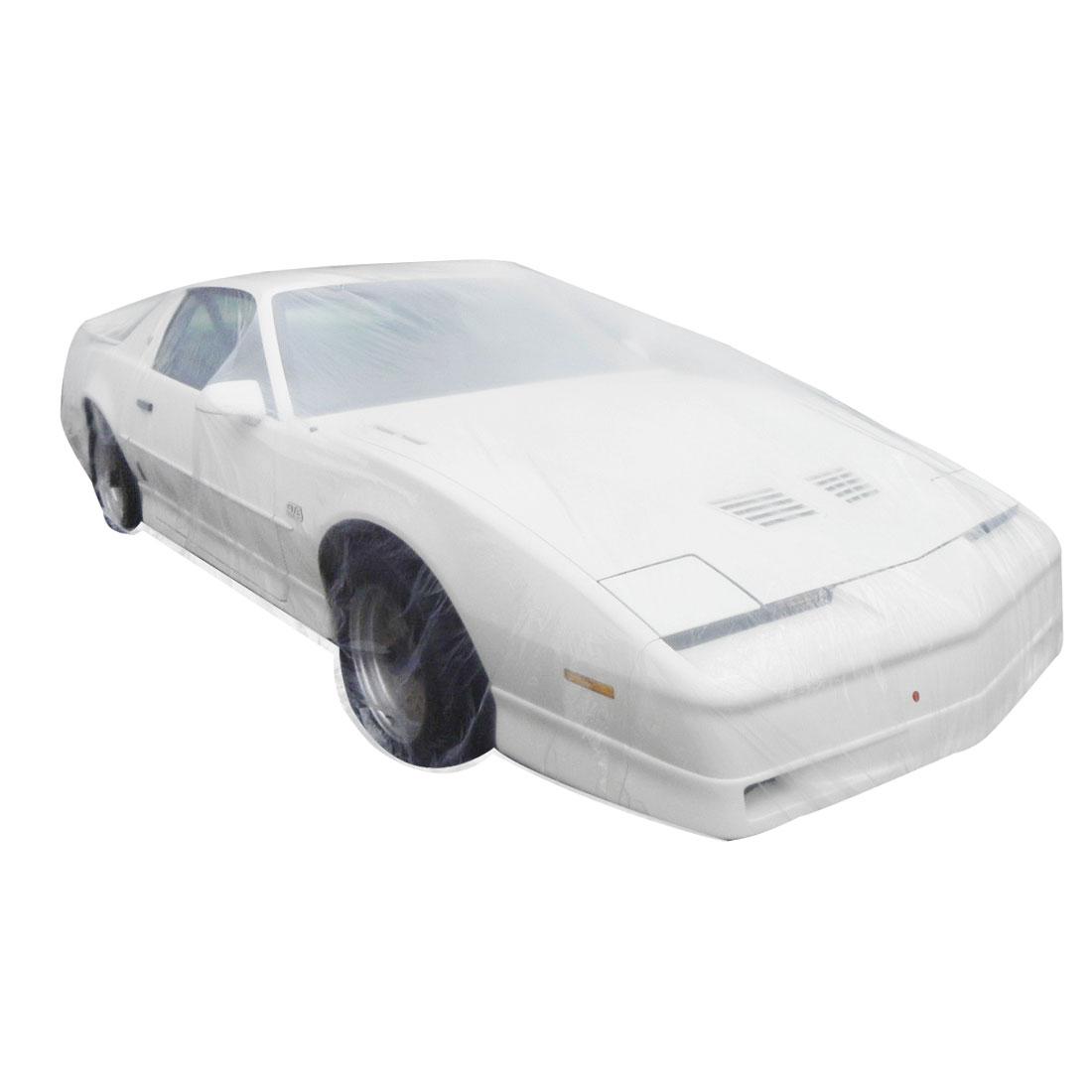 Clear Plastic Temporary Universal Disposable Car Cover Rain Dust Garage M