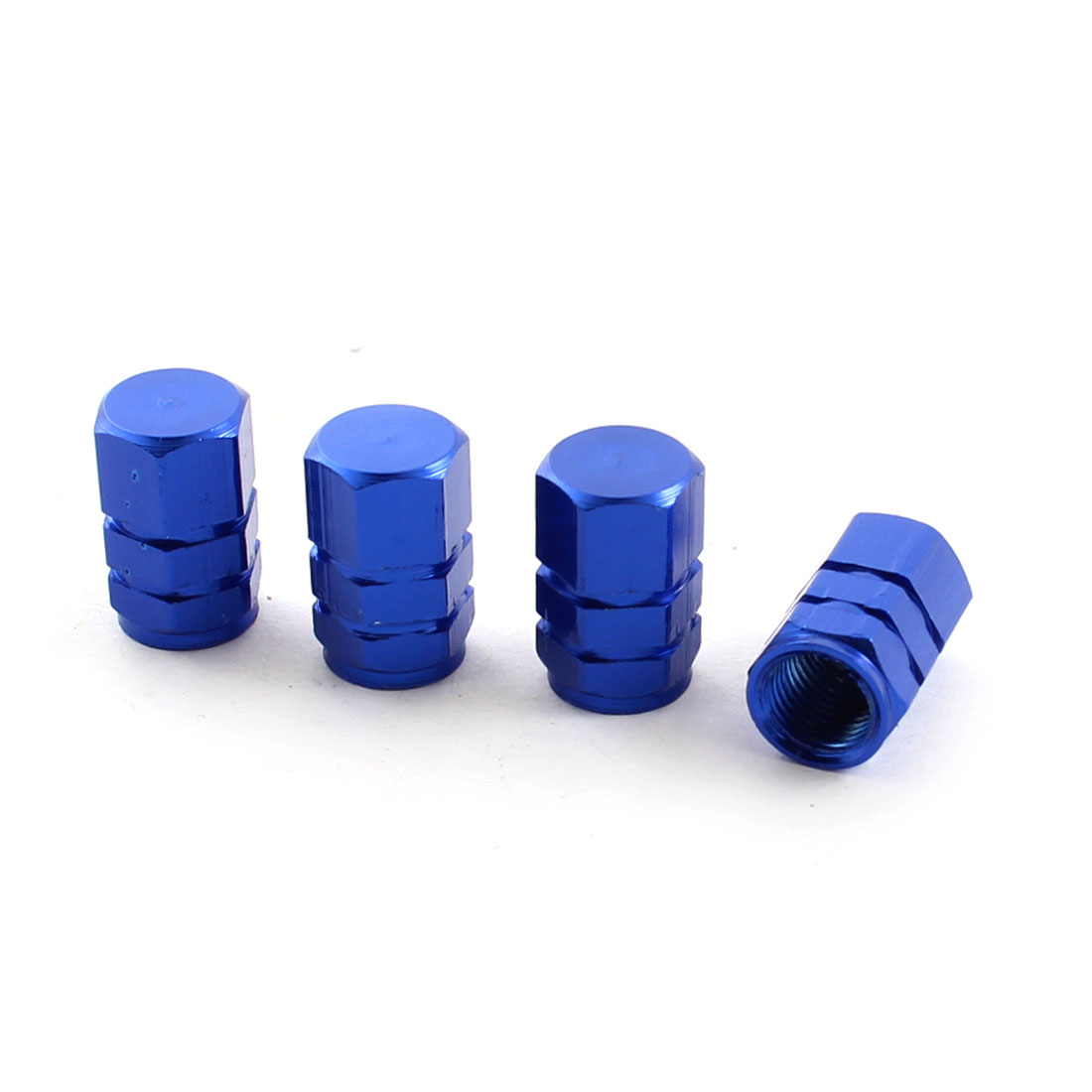 Car Auto Textured Tyre Tire Stem Protect Covers Caps Blue 4 Pieces