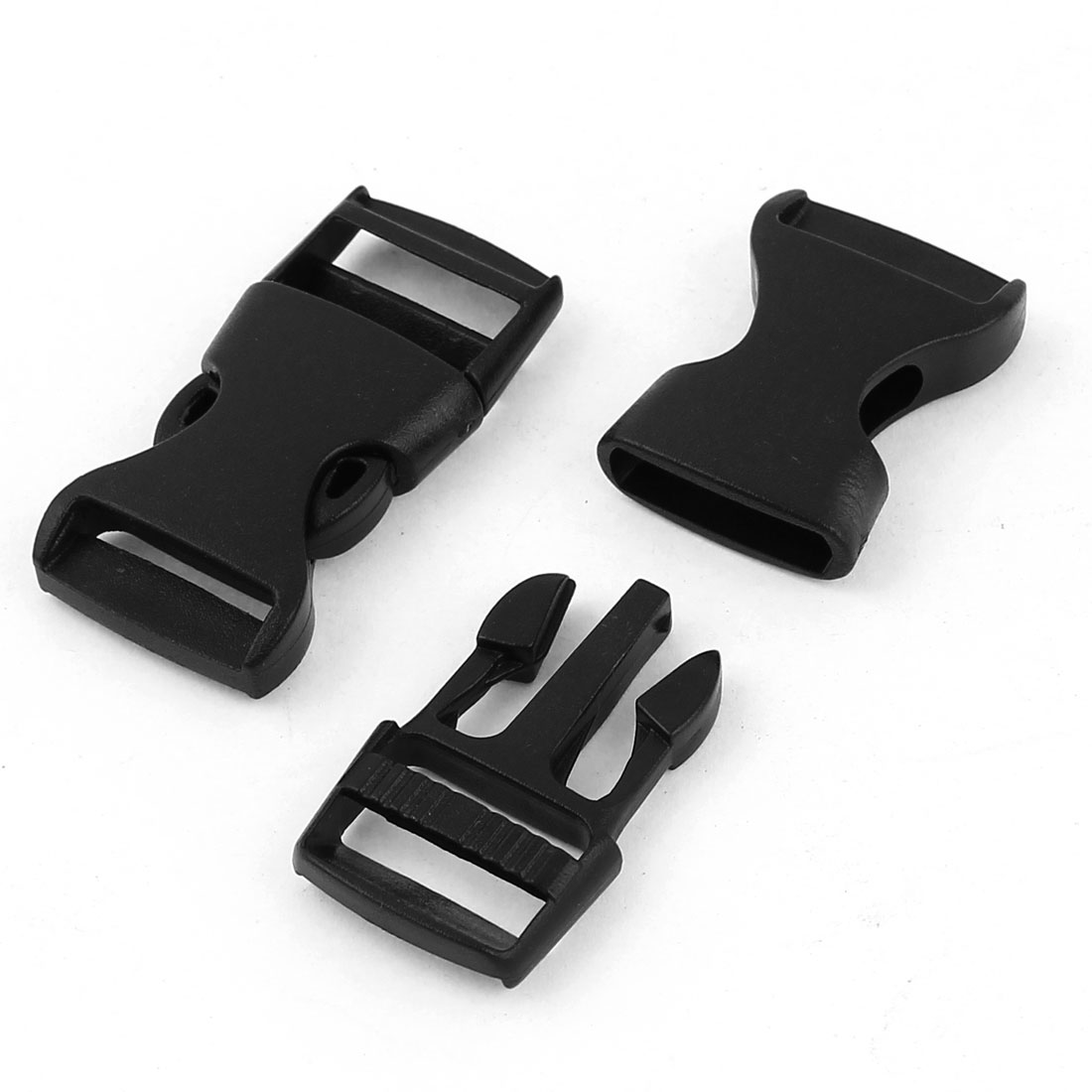 2 Pcs 1.5cm Belt Wide Luggage Safety Quick Release Buckles Black