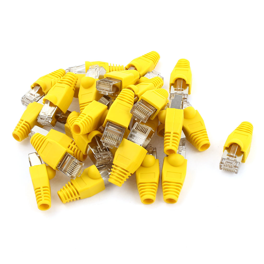 30 Pcs Gold Plated RJ45 Modular Adapter Yellow Boots Protectors Cover Set