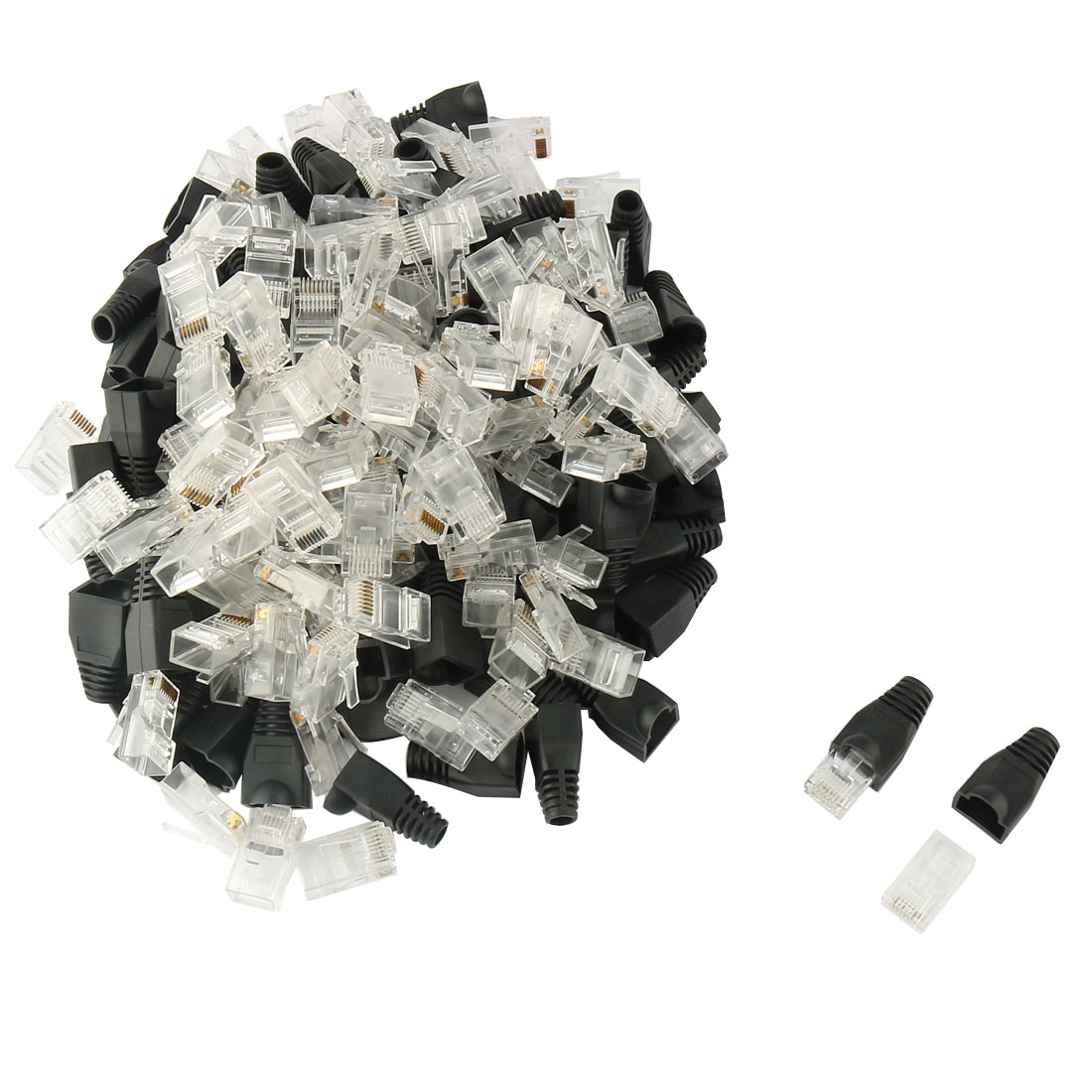 100 Pcs 8P8C Cat6 Patch RJ45 Crystal Cover Modular Plug Adapter w Black Protector