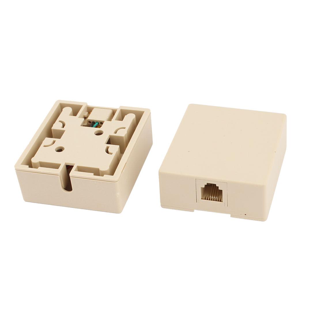 2 Pcs Plastic Shell Female RJ11 Plug Modular Phone Jack Block Box Beige