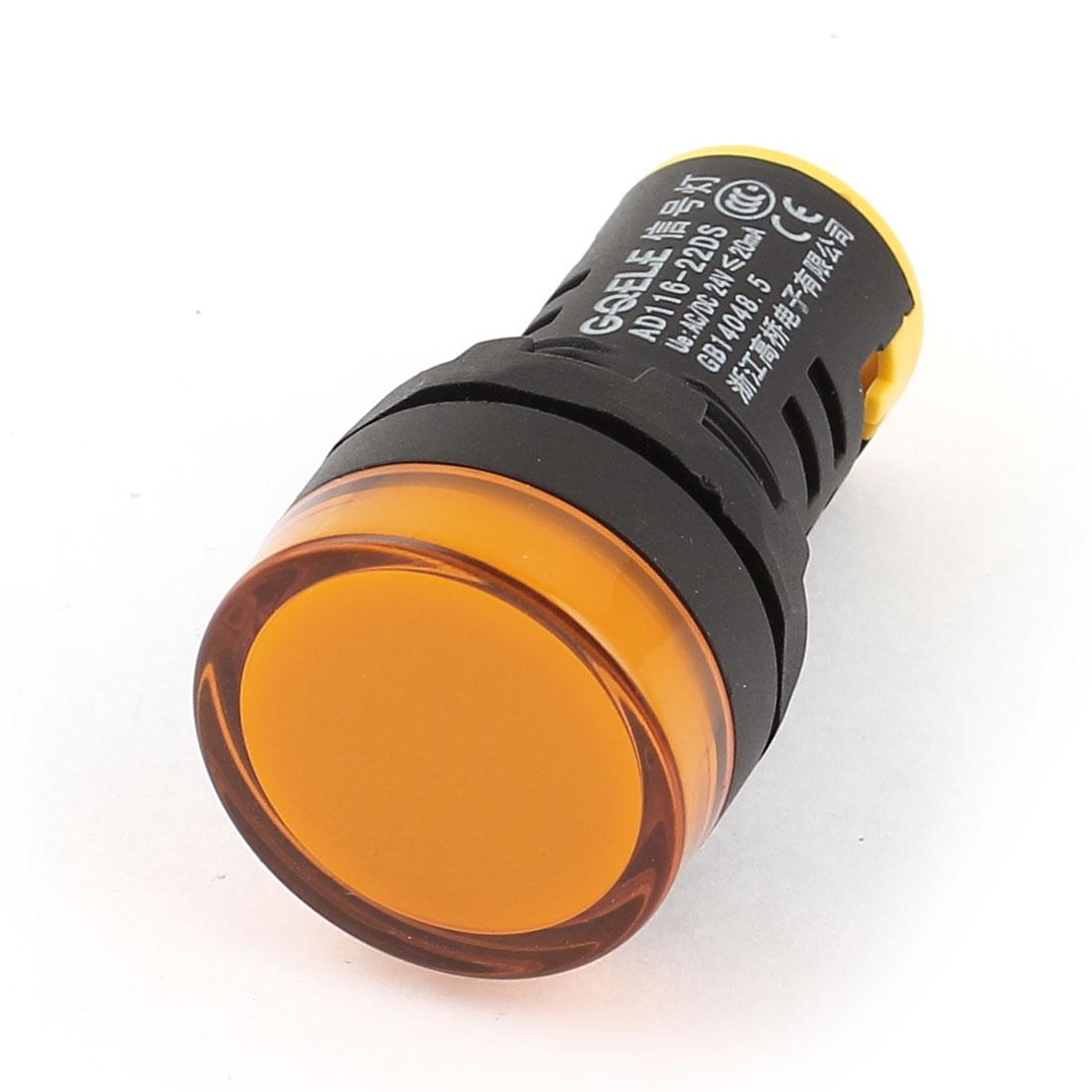 AD116-22DS AC/DC 24V 20mA Energy Saving LED Indicator Light Yellow