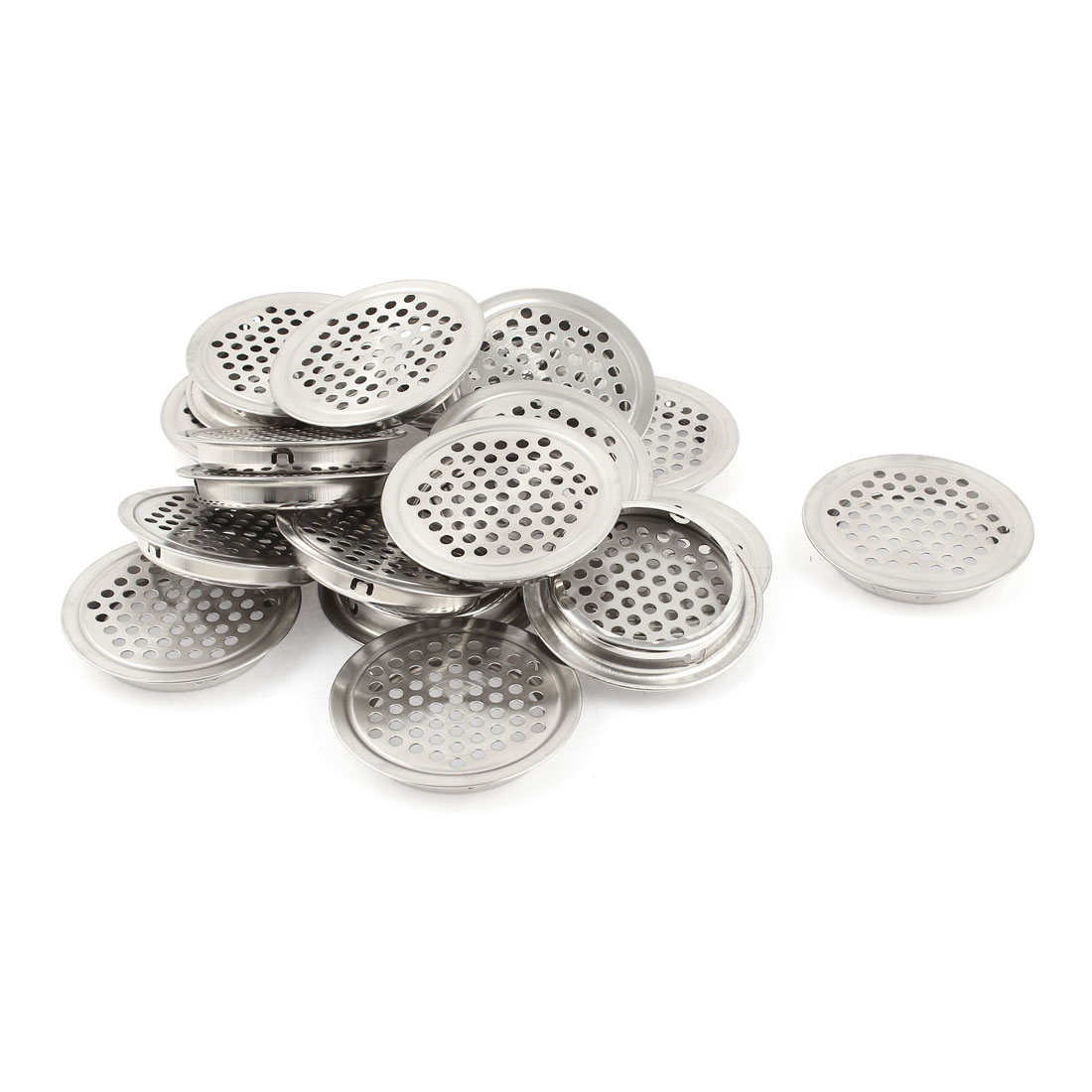 20 Pcs 53mm Bottom Dia Stainless Steel Round Mesh Hole Air Vent Louver