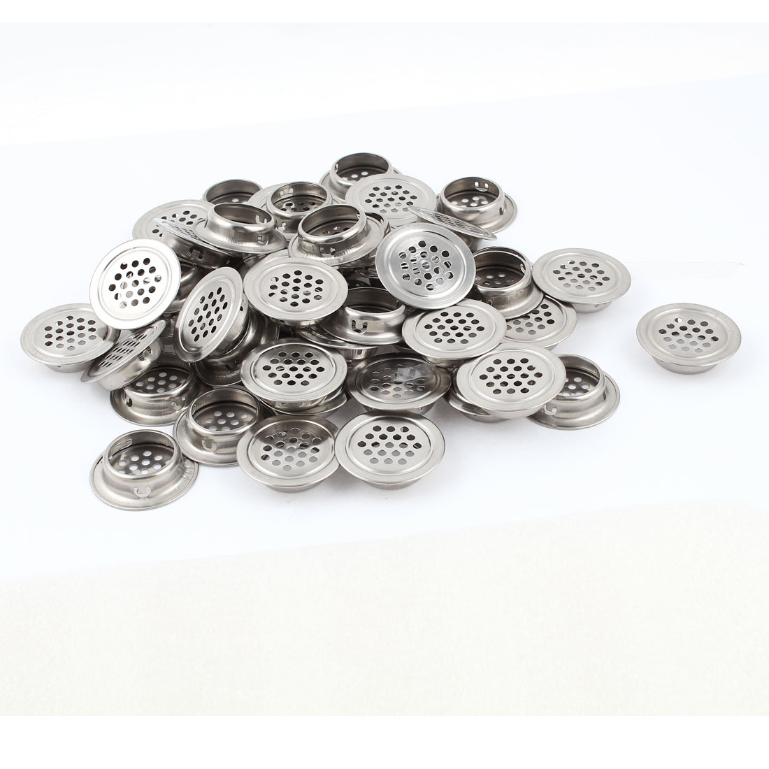 50 Pcs Silver Tone 3mm Round Mesh Hole Air Vents Louvers 30mm Bottom Dia