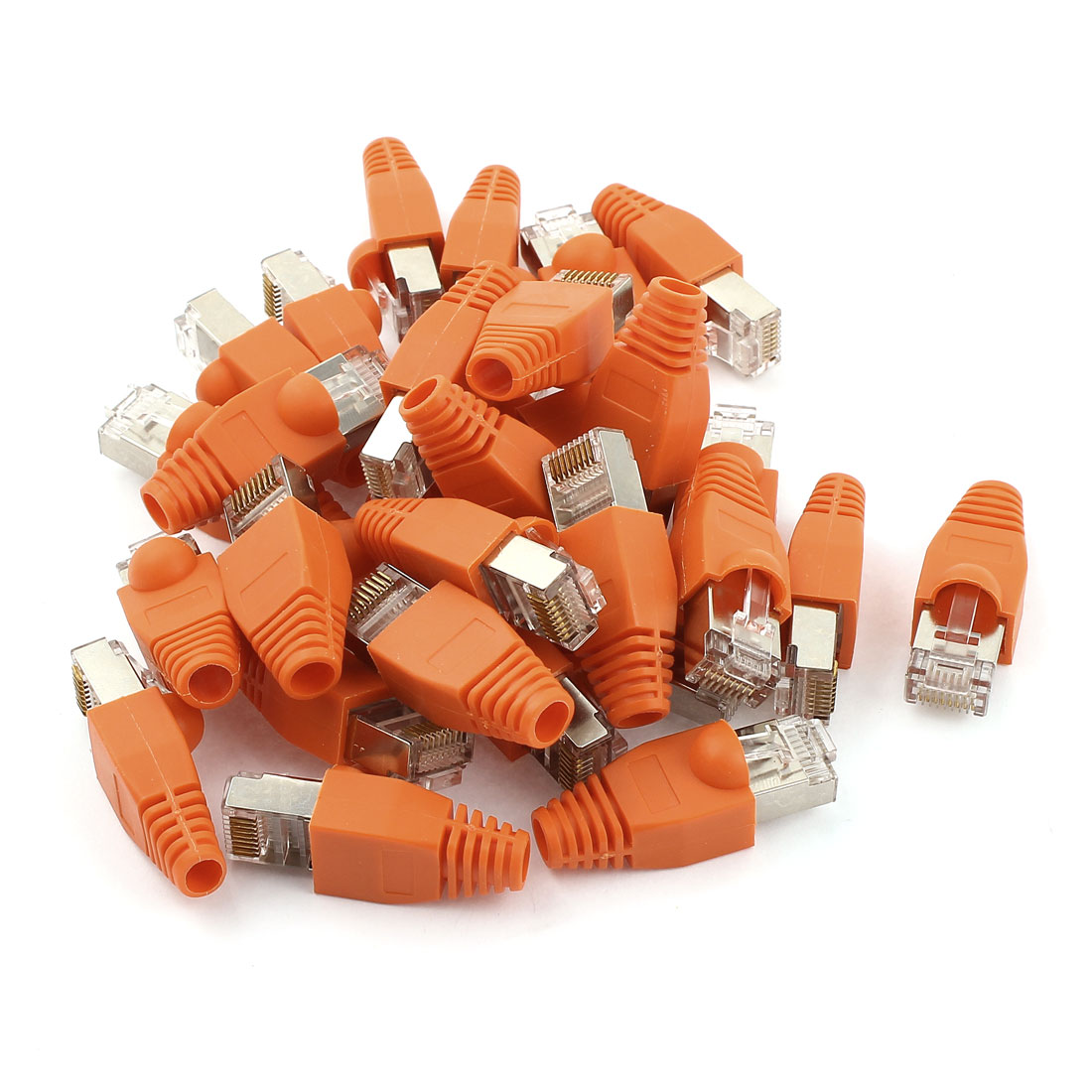 30 Pcs 8P8C Cat6 Patch RJ45 Crystal Cover Modular Plug w Orange Boot Cap
