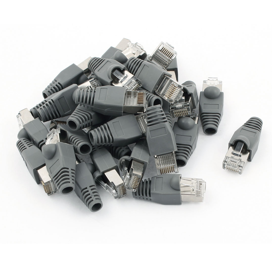 30 Pcs Gray Boot Cap RJ45 8P8C Cat5 Shield Modular Network Plug Connector