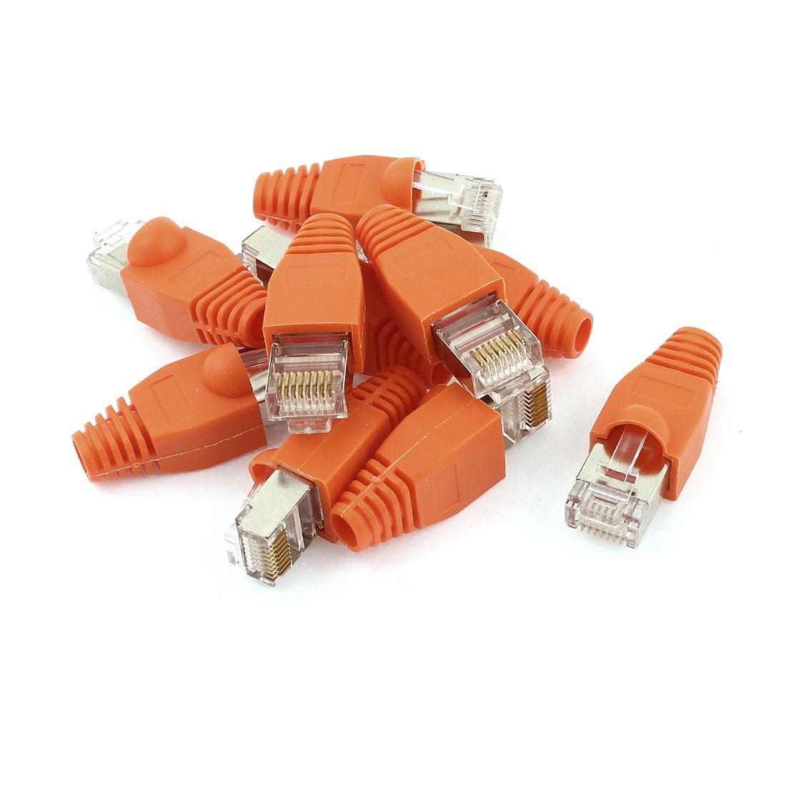 10 Pcs Metal Shielded 8P8C RJ45 End Network Connectors w Boots Cover Orange