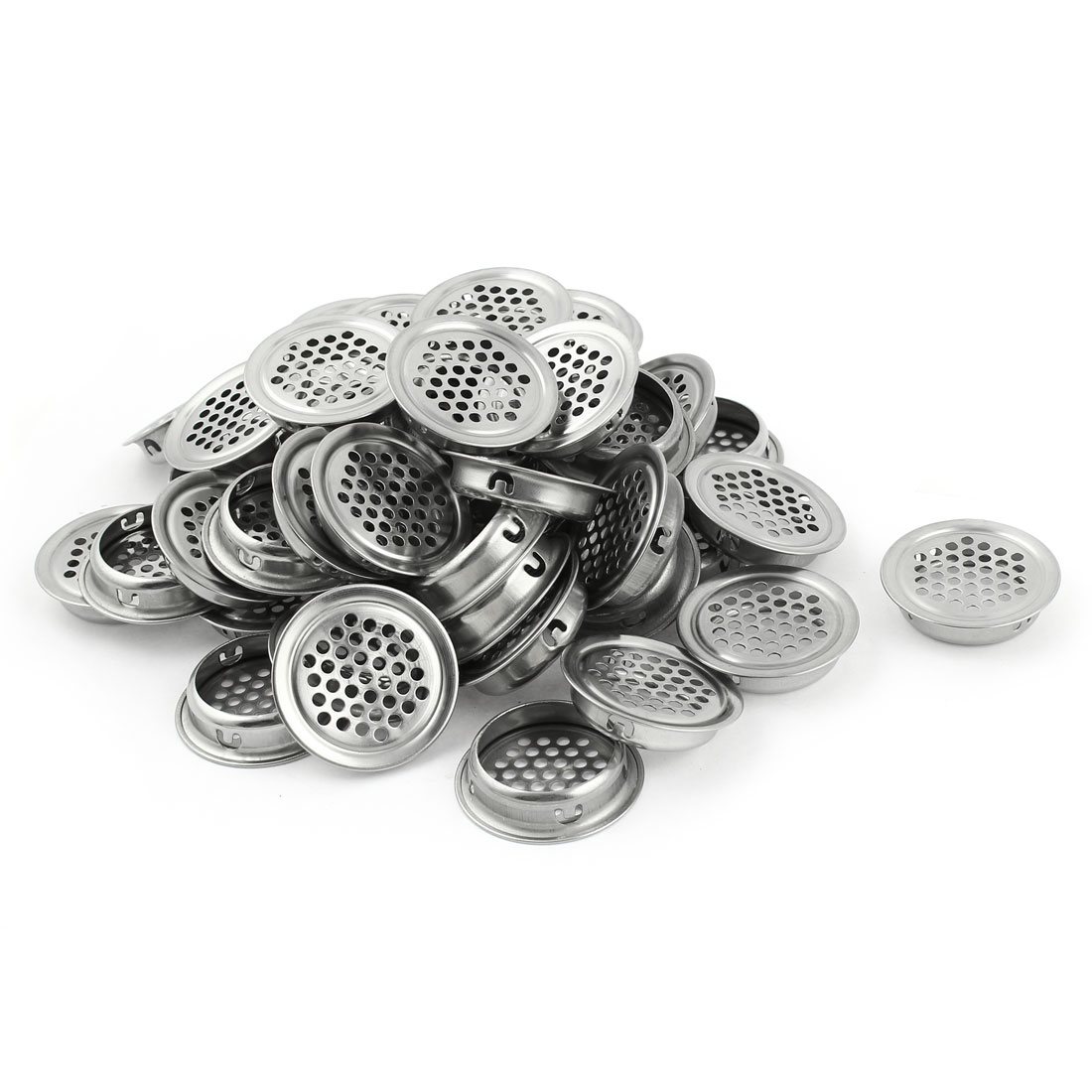 50 Pcs Stainless Steel 35mm Bottom Dia Round Mesh Hole Air Vent Louver