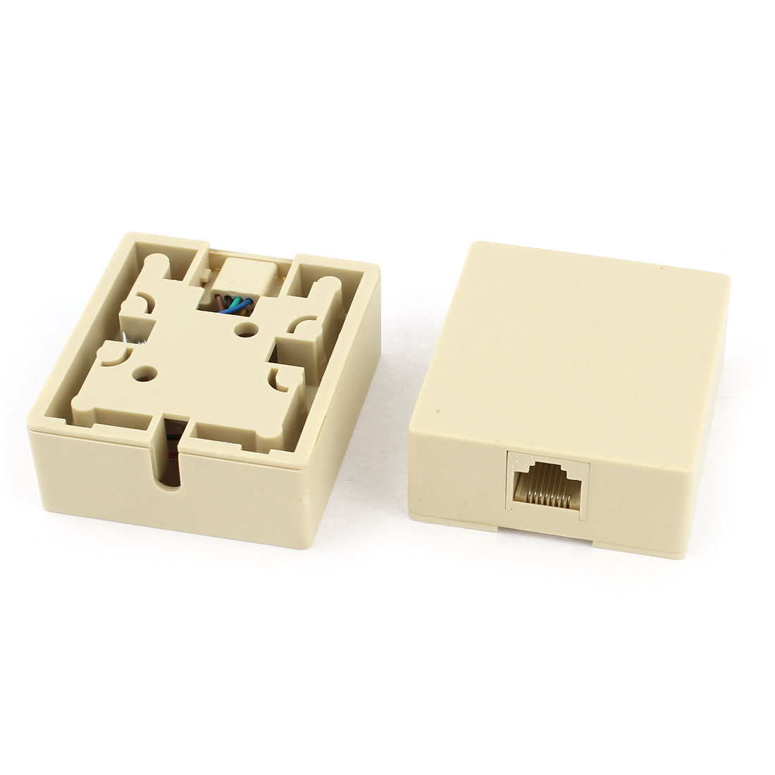 2pcs Surface Mount Box Phone Keystone Single Port Ethernet 8P8C Adapter