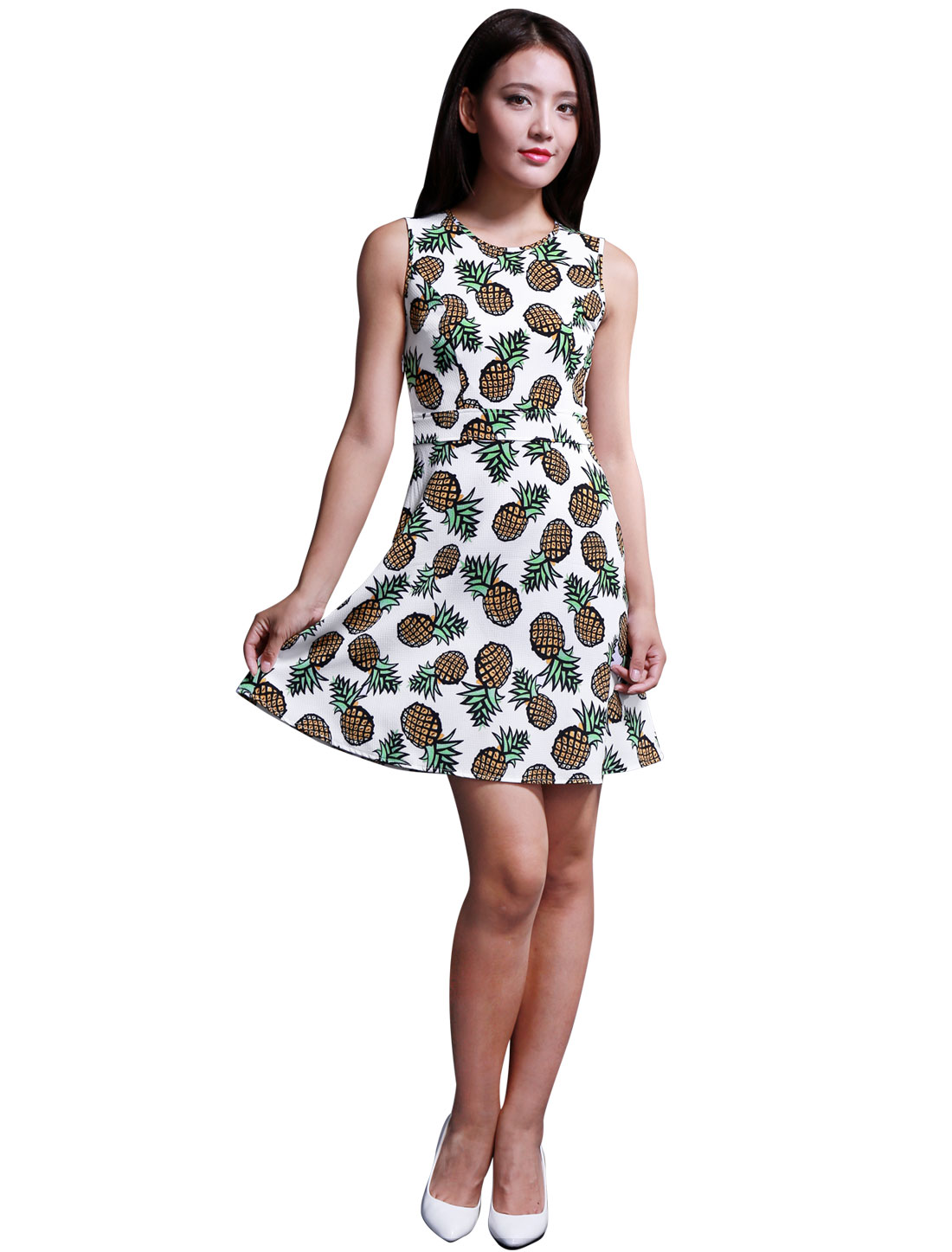 Ladies Pineapple Pattern Hidden Side Zipper A Line Tank Dress White M