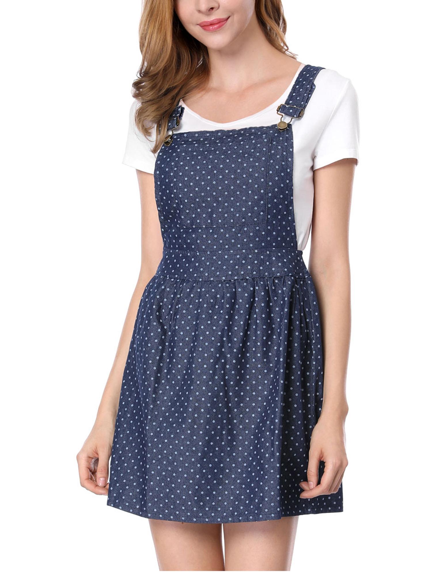 Lady Dots Print Adjustable Shoulder Straps Denim Suspender Dress Dark Blue S