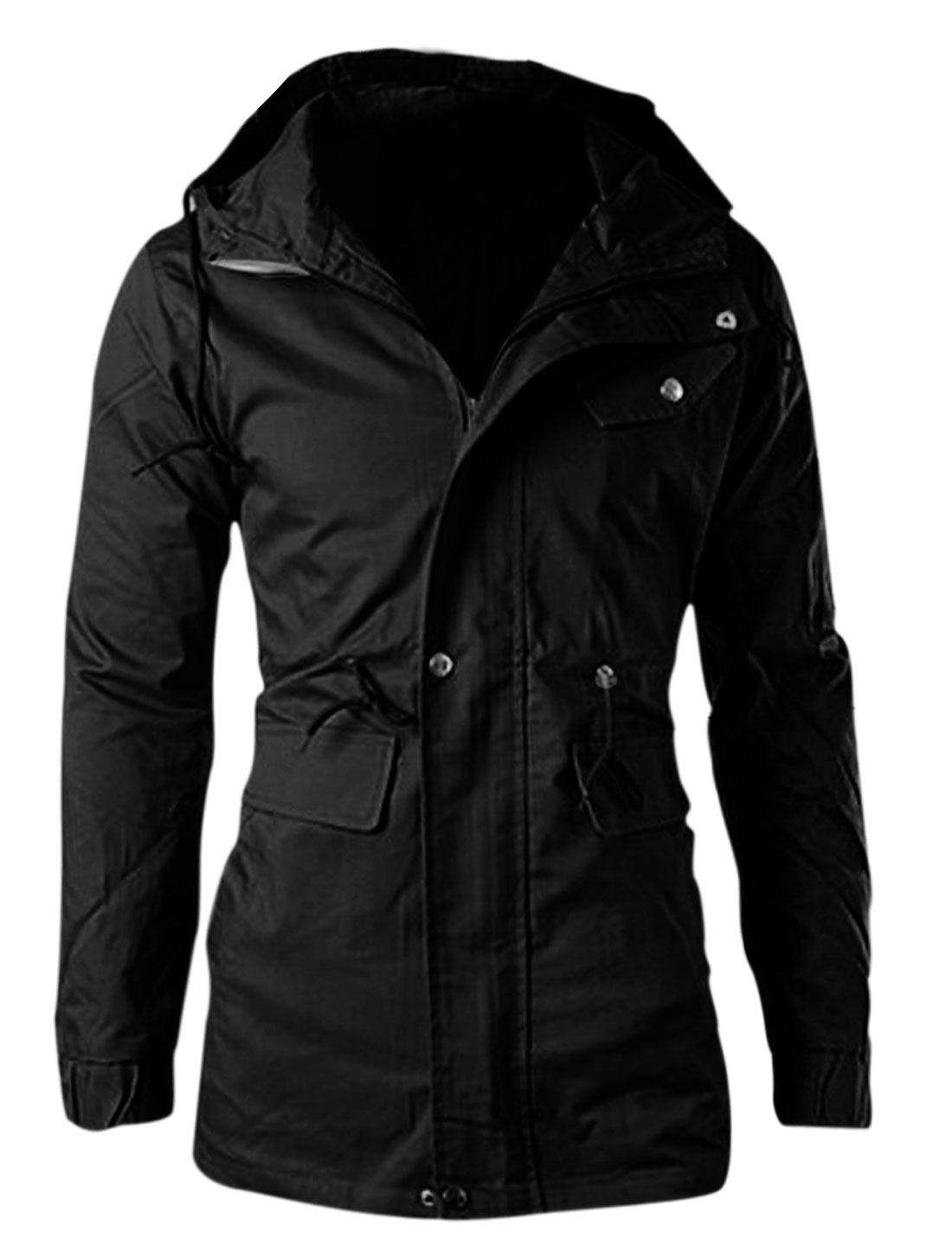 Men Zipper-Up Front Pockets Drawcord Waist Lining Fashion Jacket Black M