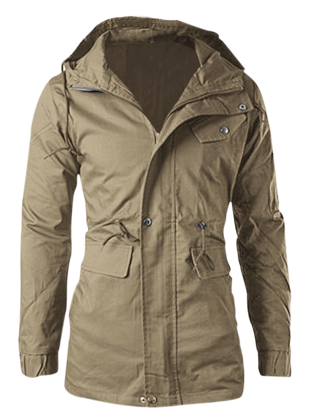 Men Zipper-Up Elastic Cuffs Drawcord Waist Lining Fashion Jacket Khaki M