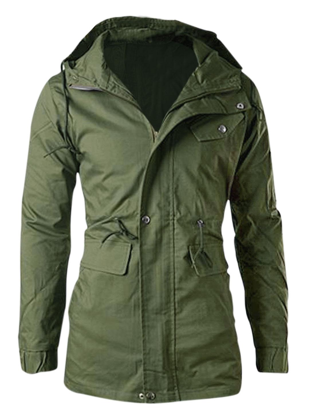 Men Zipper-Up Elastic Cuffs Hooded Drawstring Fashion Jacket Army Green M