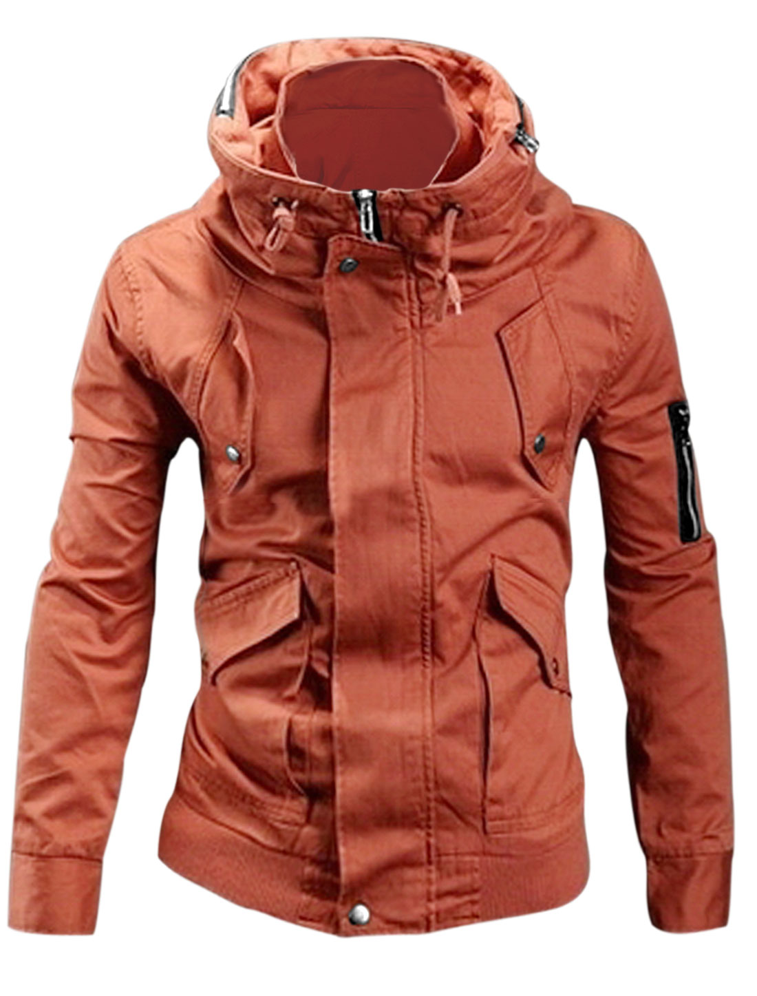 Men Convertible Collar Zip-Up Pocket New Style Jacket Orange M