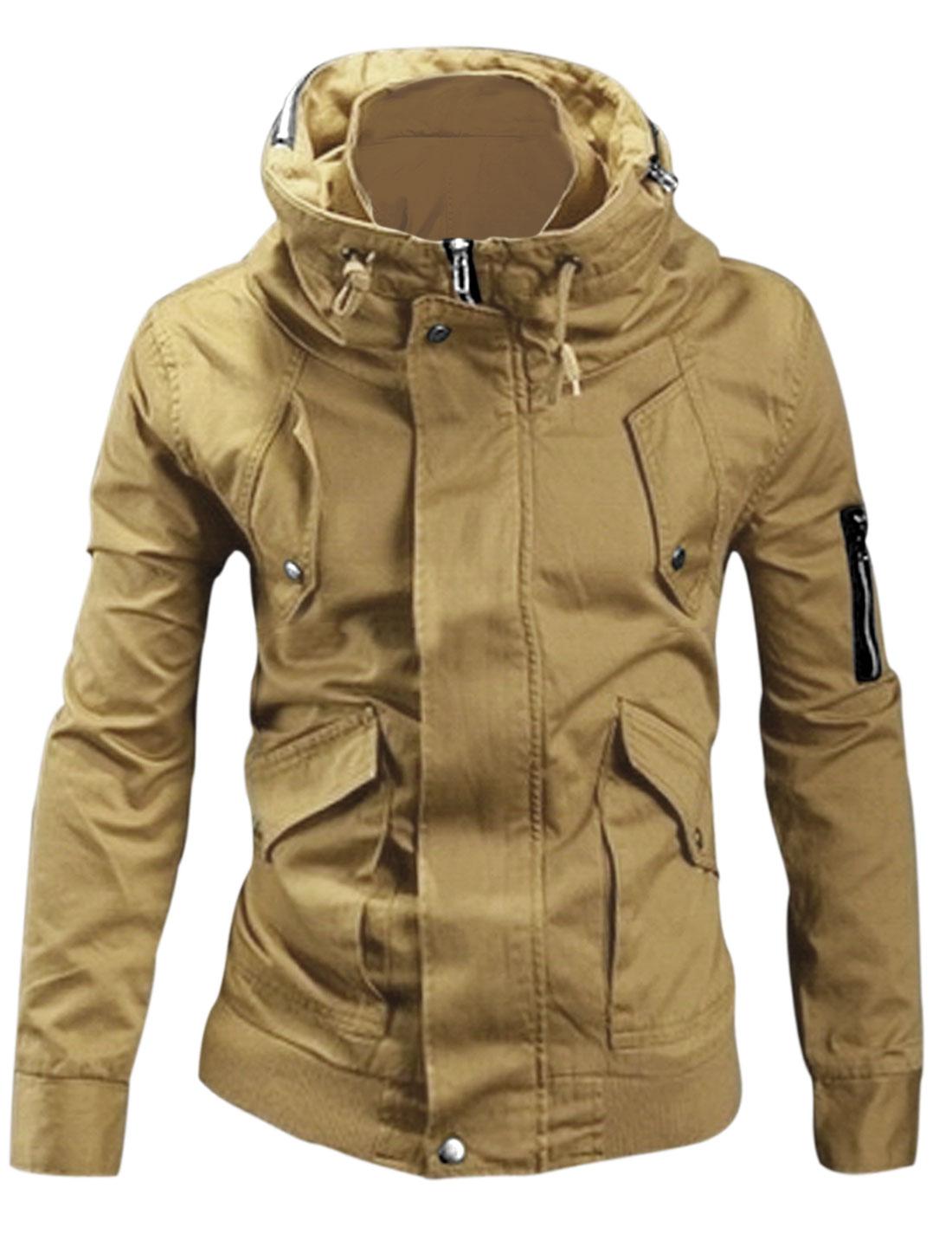 Men Convertible Collar Buttoned Cuffs New Style Jacket Khaki M