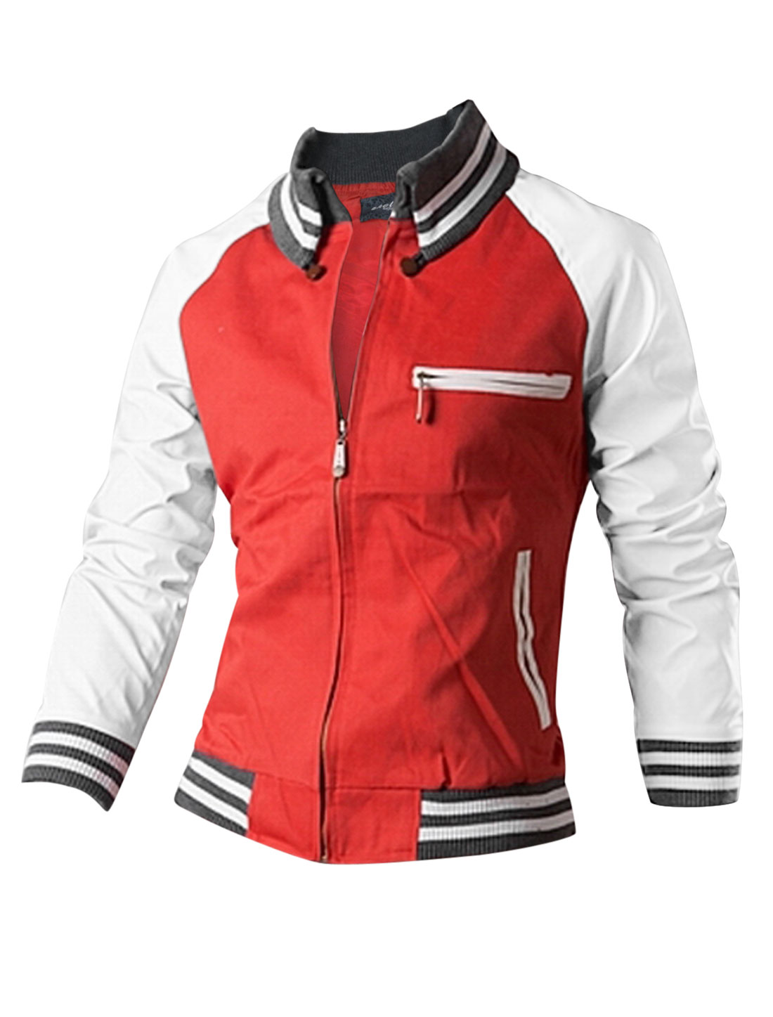 Man Red Zipper Front Stripes Detail Splice Slant Pockets Leisure Jacket S