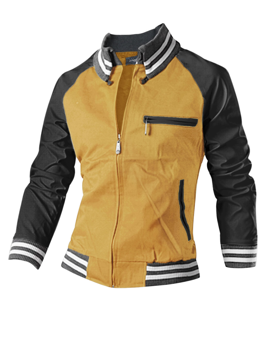 Man Yellow Zipper Front Stripes Detail Splice Contrast Color Leisure Jacket S