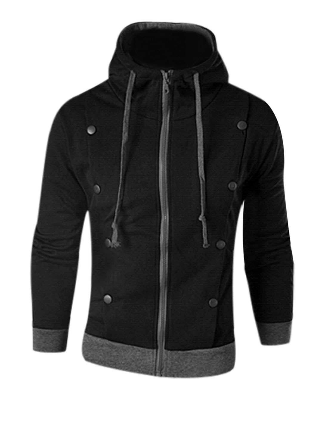Man Black Button Decor Zipper Front Drawstring Detail Panel Hoodie Jacket S