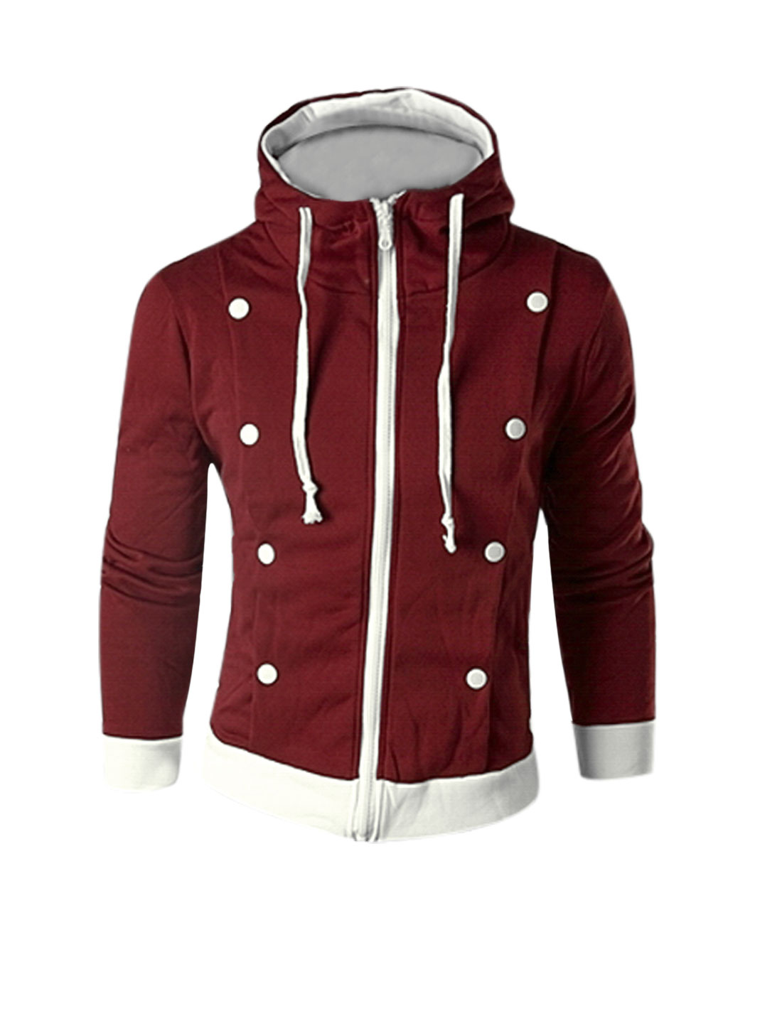 Man Burgundy Panel Zipper Front Drawstring Detail Hoodie Jacket S