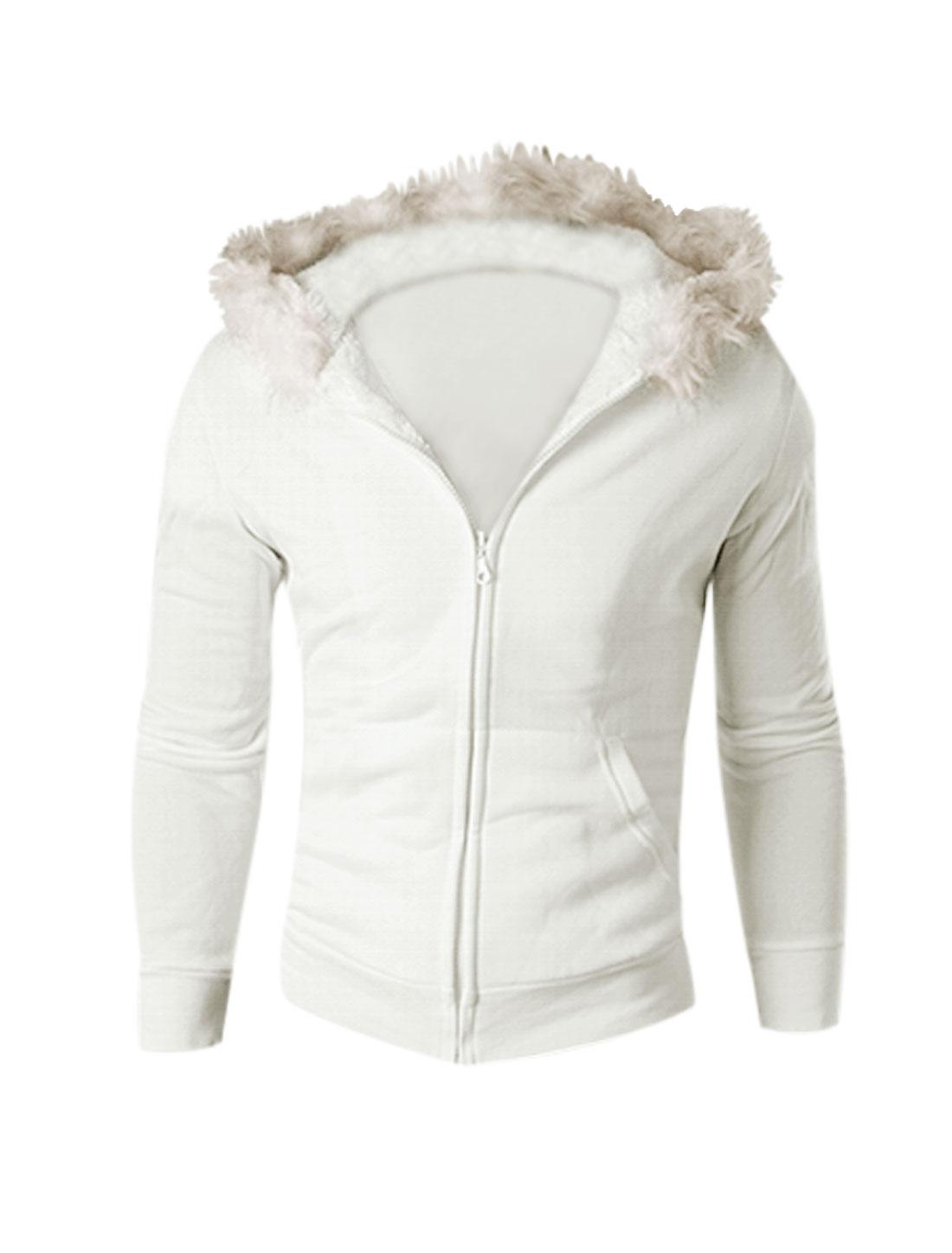 Man White Zip Up Contrast Lining Kangaroo Pockets Hoodie Sweatshirt S