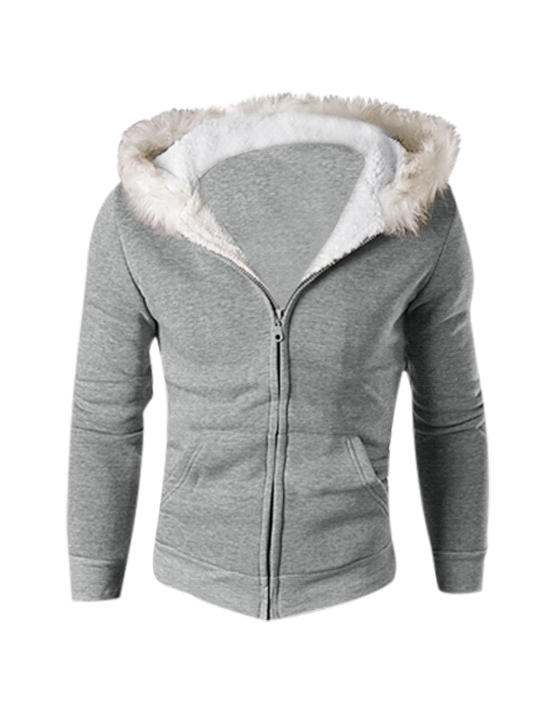 Man Light Gray Zip Closure Long Sleeves Kangaroo Pockets Hoodie Sweatshirt S