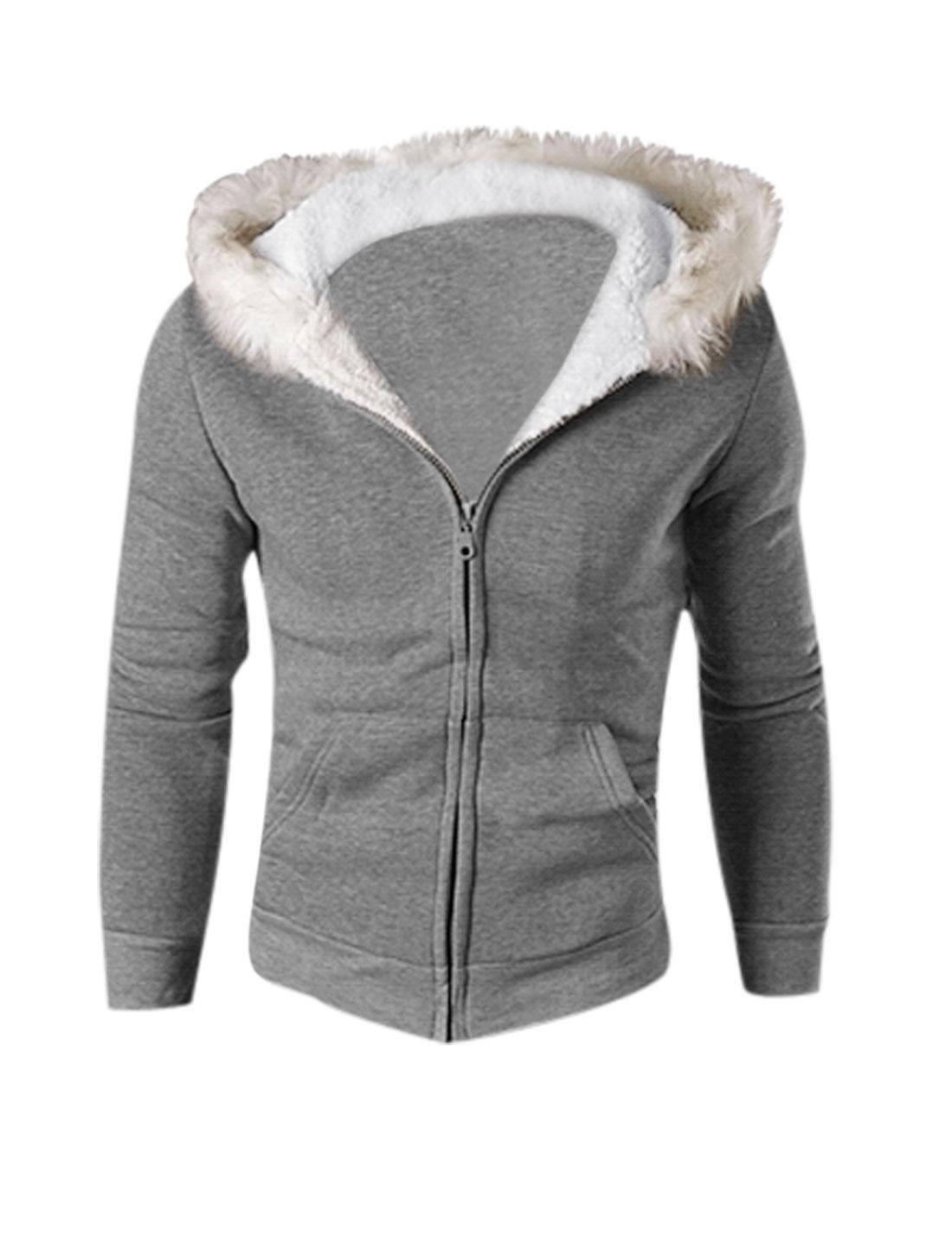 Man Dark Gray Zip Down Plush Hood Kangaroo Pockets Hoodie Sweatshirt S
