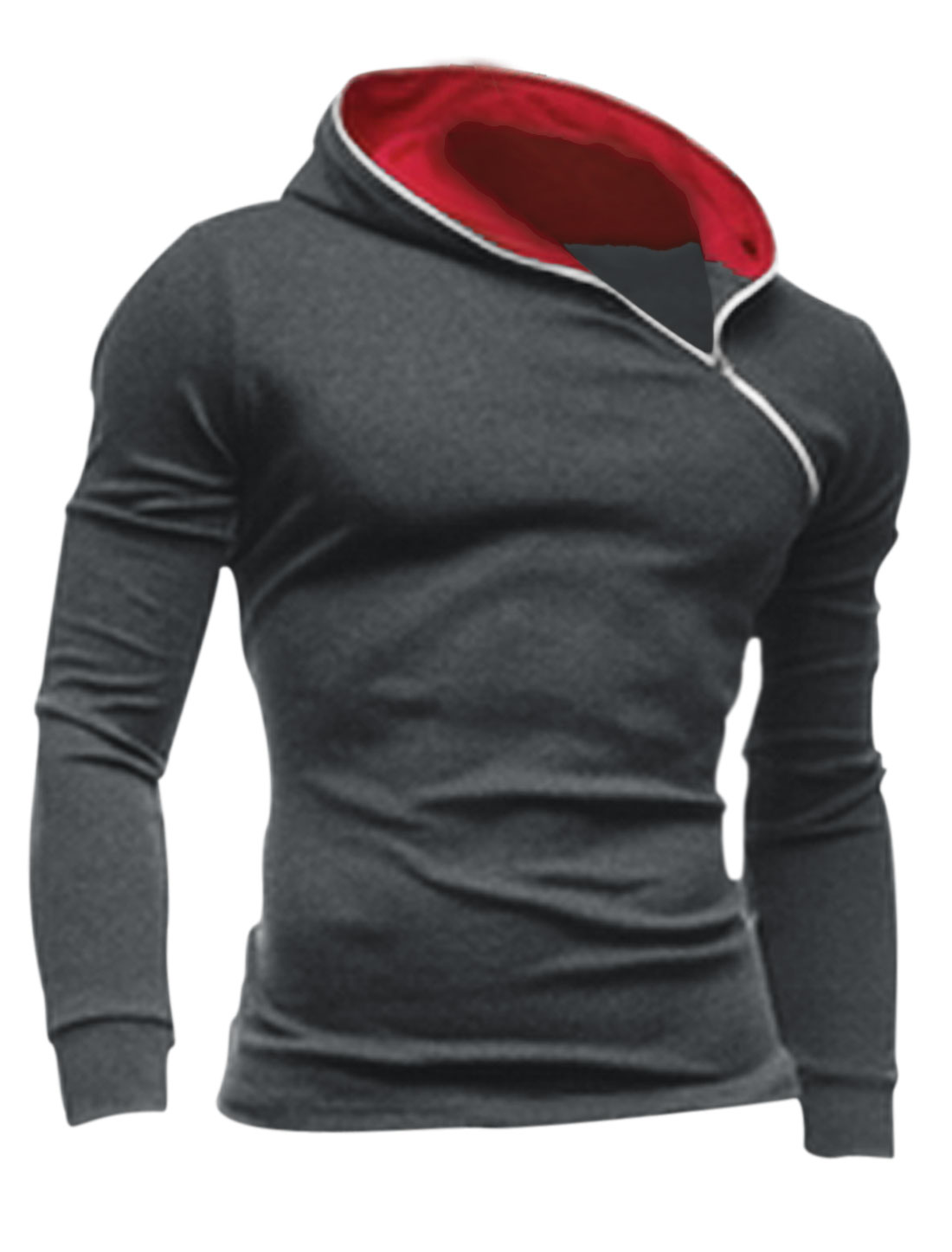 Men Casual Inclined Zipper Hooded Sweatshirt Dark Gray M