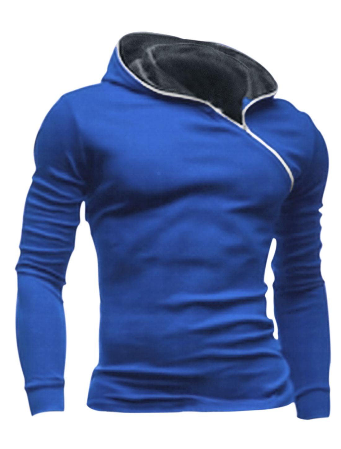 Men Inclined Zipper Long Sleeve Outwear Hooded Sweatshirt Blue M