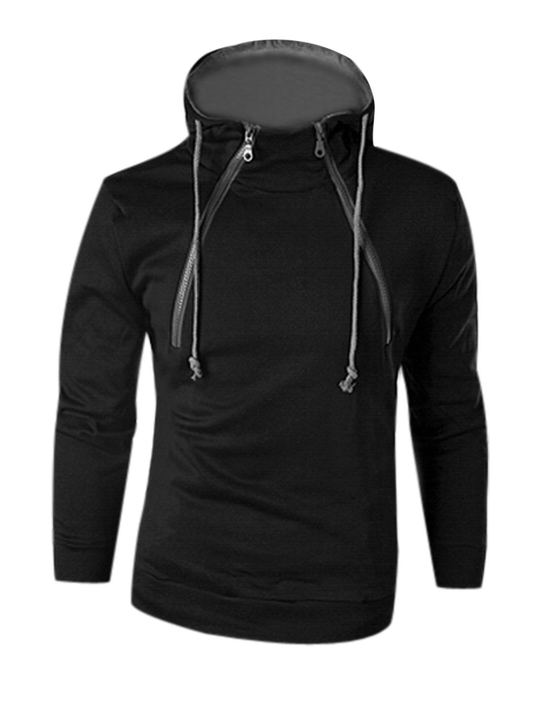 Man Black Drawstring Zipper Closure Front Hooded Sweatshirt M