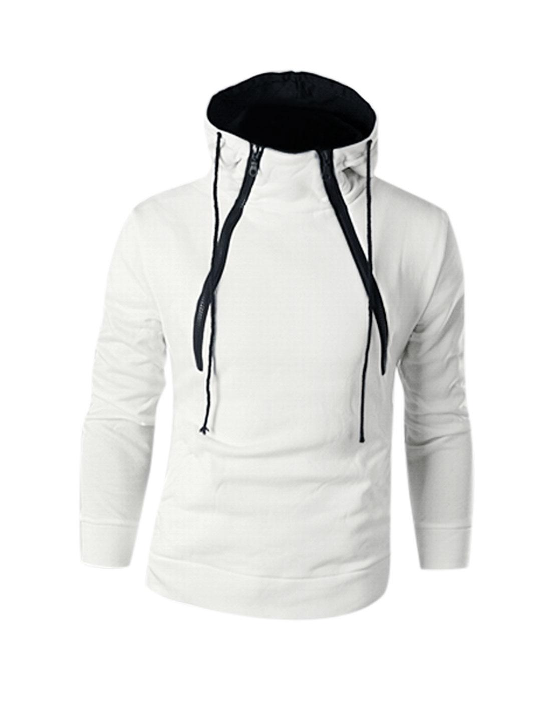 Man White Slipover Drawstring Zipper Closure Front Hooded Sweatshirt M