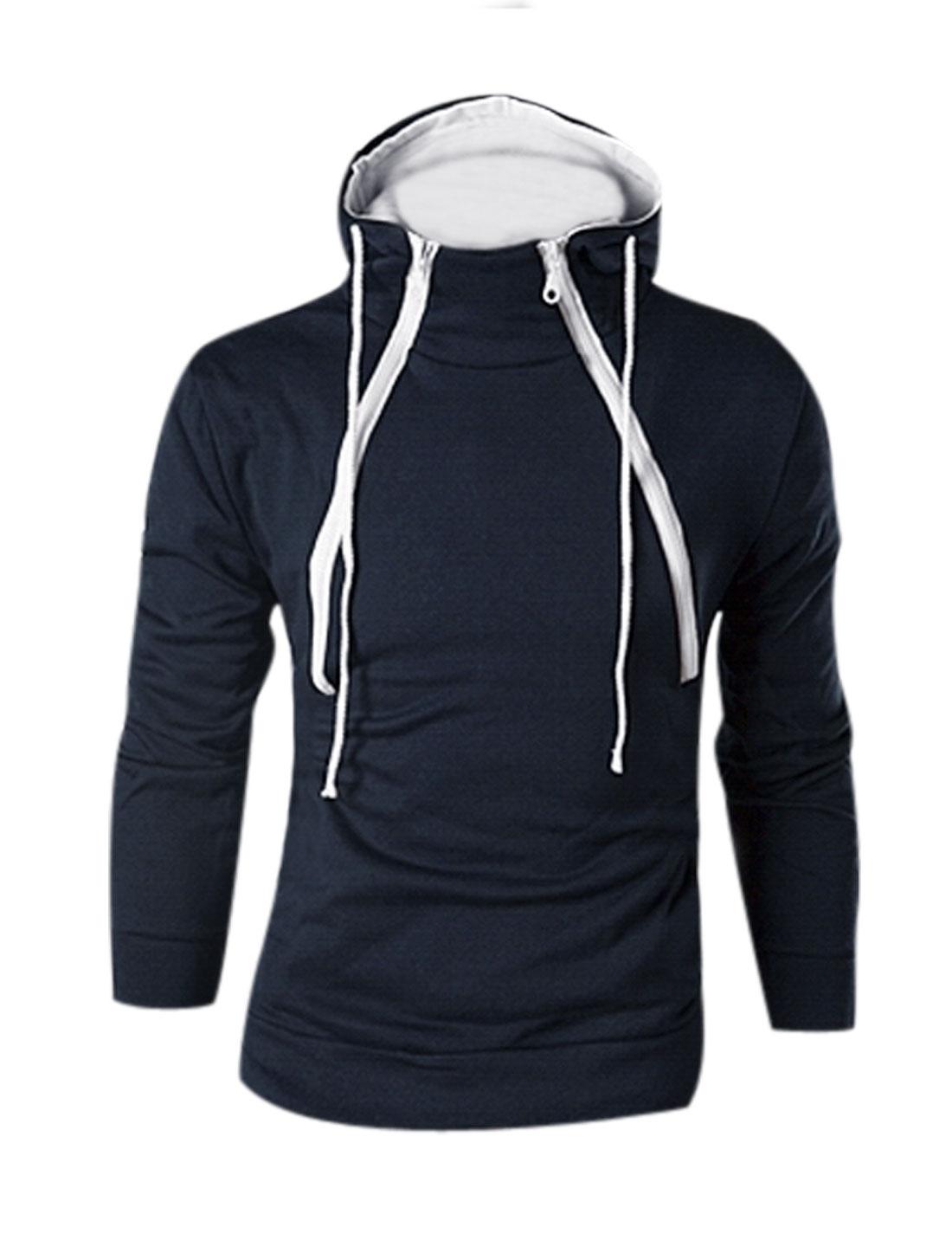 Man Navy Blue Pullover Drawstring Front Pockets Long Sleeves Hooded Sweatshirt M