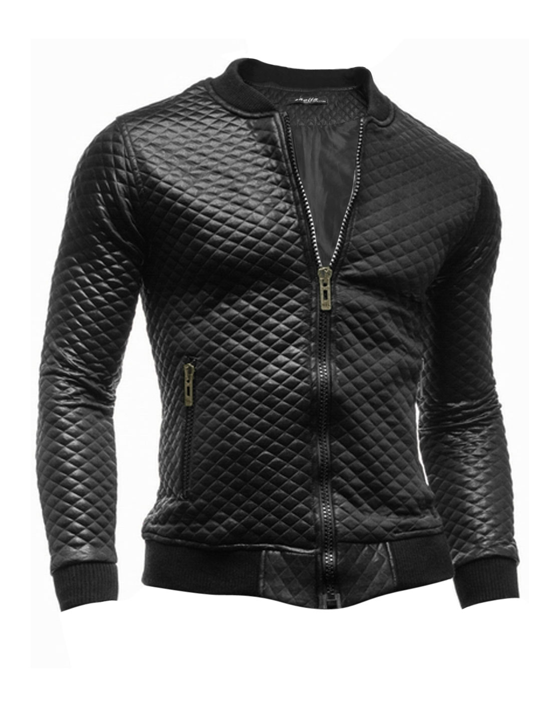 Men Stand Collar Zip Closure Agryle Design Chic Imitation Leather Jacket Black M