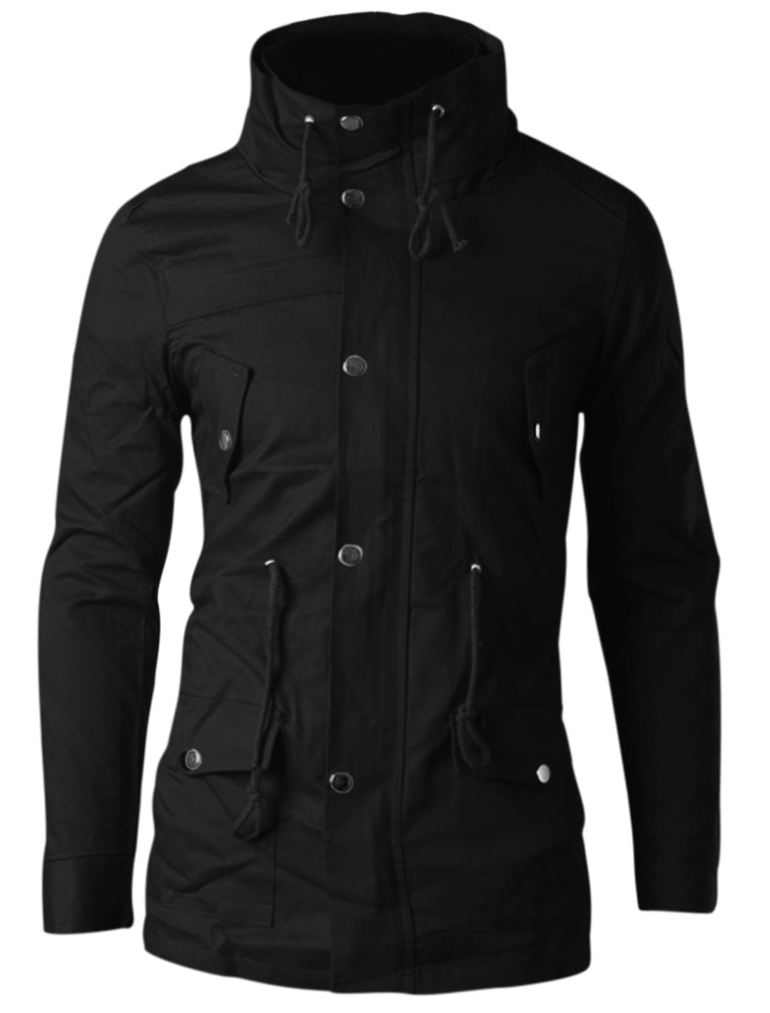 Man Black Zip Up Drawstring Waist Button Closure Front Pockets Jacket M