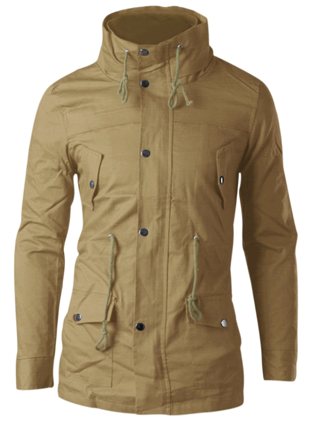 Man Khaki Zipper Front Drawstring Waist Button Closure Split Back Jacket M